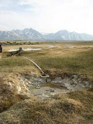 plugged pipe from source to dry pool (Alkali Lake)